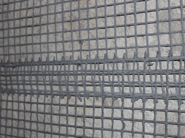 Solapamiento de la malla para la conexión de las dos partes de la malla de S&P ARMO-mesh® en edificio histórico.